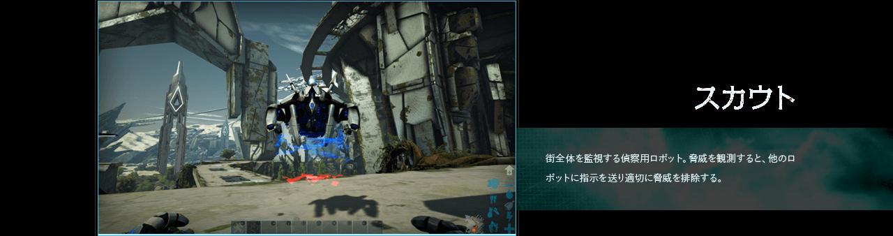 偵察機(仮) 街全体を監視する偵察用ロボット。脅威を観測すると、他のロボットに指示を送り適切に脅威を排除する。