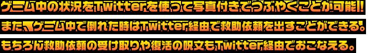 ゲーム中の状況をTwitterを使って写真付きでツイートが可能!また、ゲーム中で倒れた時はTwitter経由で救助依頼を出すことができる。もちろん救助依頼の受け取りや復活の呪文もTwitter経由でおこなえる。