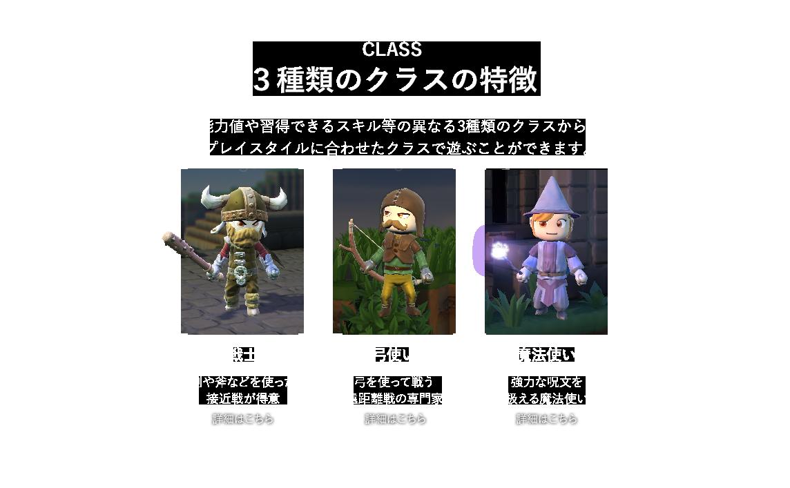 能力値や習得できるスキル等の異なる3種類のクラスから、 プレイスタイルに合わせたクラスで遊ぶことができます。戦士 剣や斧などを使った 接近戦が得意 弓使い 剣や斧などを使った 接近戦が得意  魔法使い 強力な呪文を 扱える魔法使い