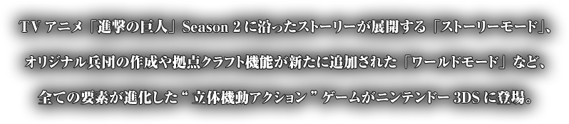 "TVアニメ「進撃の巨人」Season 2に沿ったストーリーが展開する「ストーリーモード」、オリジナル兵団の作成や拠点クラフト機能が新たに追加された「ワールドモード」など、全ての要素が進化した""立体機動アクション""ゲームがニンテンドー3DSに登場。"