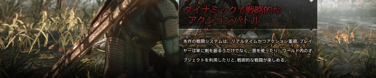 ダイナミックで戦略的なアクションバトル 本作の戦闘システムは、リアルタイムかつアクション重視。プレイヤーは単に剣を振るうだけでなく、罠を使ったり、ワールド内のオブジェクトを利用したりと、戦術的な戦闘が楽しめる。